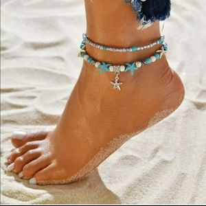 ⭐New Starfish and Beads 2 Layer Ankle Bracelet